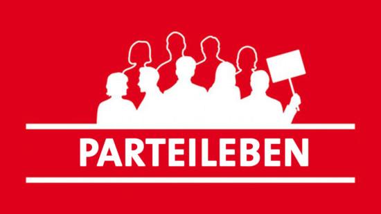 """Stilisierte Gruppe und der Text """"Parteileben"""""""